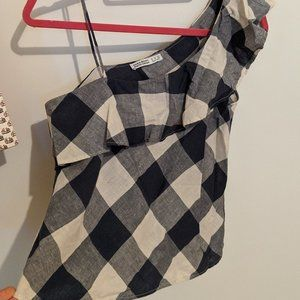 Checkered one shoulder zara tank